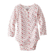 OshKosh B'gosh® Long-Sleeve Ribbed Knit Floral Bodysuit – Girls 3m-24m