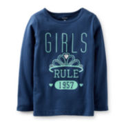 Carter's® Girls Rule Long-Sleeve Knit Tee – Girls 2t-4t