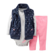 Carter's® 3-pc. Microfleece Polka Dot Vest Set – Girls newborn-24m