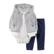Carter's® 3-pc. Striped Hooded Cardigan Set – Girls newborn-24m