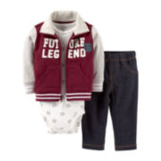 Carter's® 3-pc. Future Legend French Terry Cardigan and Pants Set – Boys newborn