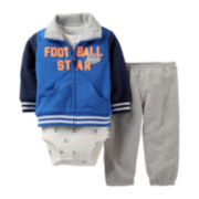 Carter's® 3-pc. Football Star French Terry Cardigan and Pants Set – Boys newborn