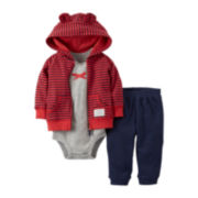 Carter's® 3-pc. Microfleece Striped Cardigan and Pants Set – Boys newborn-24m