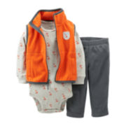 Carter's® 3-pc. Orange Fox Microfleece Vest Set – Boys newborn-24m