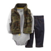 Carter's® 3-pc. Camo Print Microfleece Vest Set – Boys newborn-24m