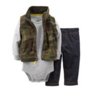Carter's® 3-pc. Camo Print Microfleece Vest Set – Boys newborn-24m