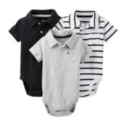 Carter's® 3-pk. Short-Sleeve Polo Knit Bodysuits – Boys newborn-24m