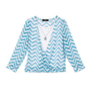 by&by Girl Long-Sleeve Chevron Wrap Blouse - Girls 7-16