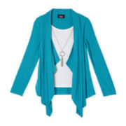 by&by Girl Layered Drape Top with Necklace - Girls 7-16