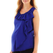 Maternity Sleeveless Ruffled Blouse - Plus