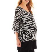 Maternity Chiffon Flutter-Sleeve Top - Plus