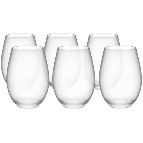 Zak Designs® Trinity Set of 6 Tritan Stemless Red Wine Glasses