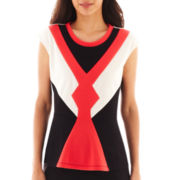 Worthington® Cap-Sleeve Colorblock Peplum Top