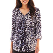 Worthington® 3/4-Sleeve Roll-Tab Tunic Blouse