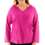 St. John's Bay® Raglan-Sleeve Y-Neck Top - Plus