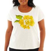 St. John's Bay® Short-Sleeve Floral Print Tee - Tall