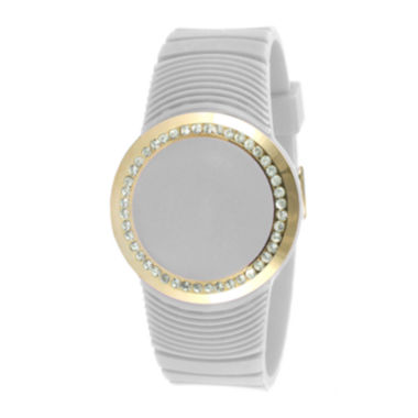 jcpenney.com | TKO ORLOGI Womens Crystal-Accent White Silicone Strap Touch Digital Sport Watch