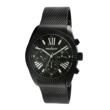 jcpenney.com | Peugeot® Mens Black Stainless Steel Mesh Strap Watch 1045BK