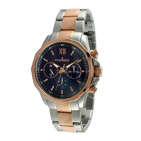 Peugeot® Mens Rose-Tone Stainless Steel Bracelet Watch 1046TBL