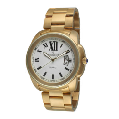 jcpenney.com | Peugeot® Mens Gold-Tone Stainless Steel Bracelet Watch 1047G