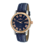 Peugeot® Mens Blue Leather Strap Watch 2040RBL