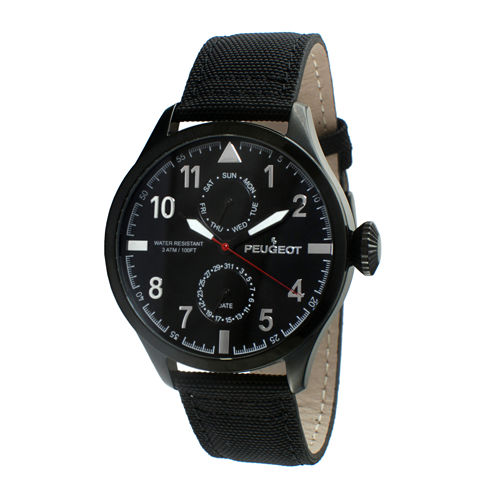 Peugeot® Mens Black Strap Aviator Watch 2044BK