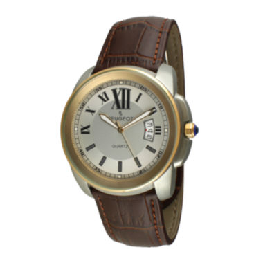 jcpenney.com | Peugeot® Mens Gold-Tone Brown Leather Strap Watch 2045GBR