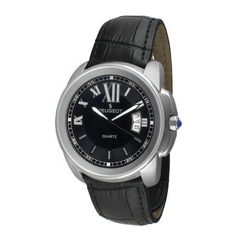 Peugeot® Mens Silver-Tone Black Leather Strap Watch 2045SBK
