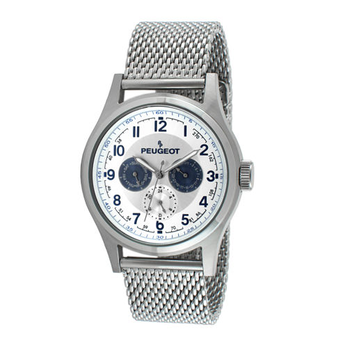 Peugeot® Mens Stainless Steel Mesh Watch 1049S