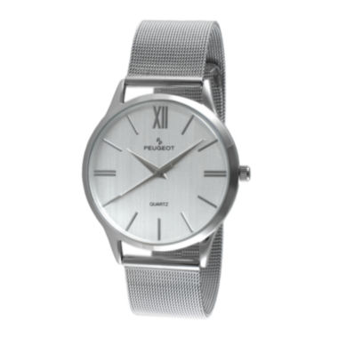 jcpenney.com | Peugeot® Mens Gray Dial Stainless Steel Mesh Watch 1052SBK