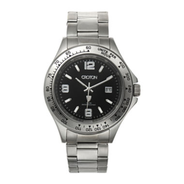 jcpenney.com | Croton Mens Black Dial Stainless Steel Sport Watch