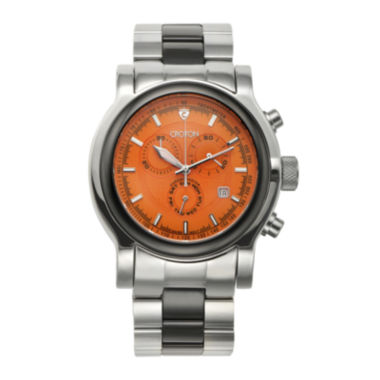 jcpenney.com | Croton Mens Orange Dial Stainless Steel and Black Ceramic Strap Watch