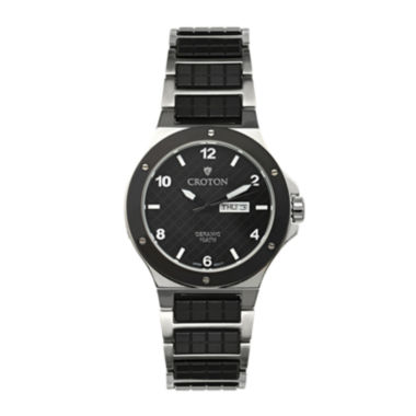 jcpenney.com | Croton Mens Black Ceramic and Stainless Steel Watch