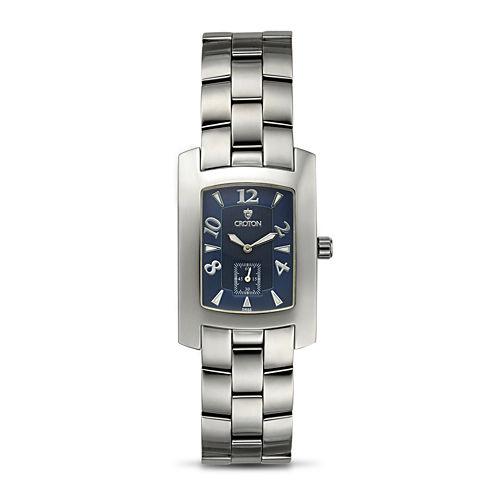 Croton Mens Blue Dial Stainless Steel Tonneau Watch