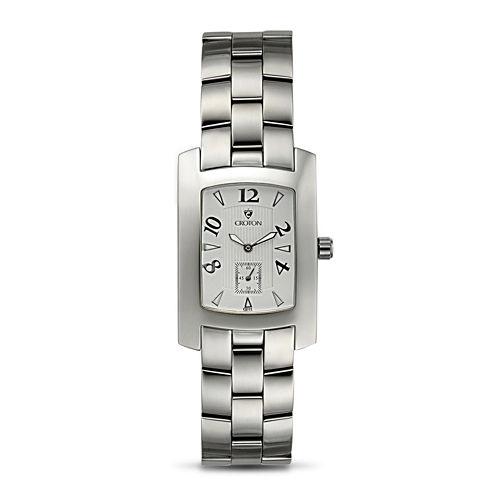 Croton Mens White Dial Stainless Steel Tonneau Watch