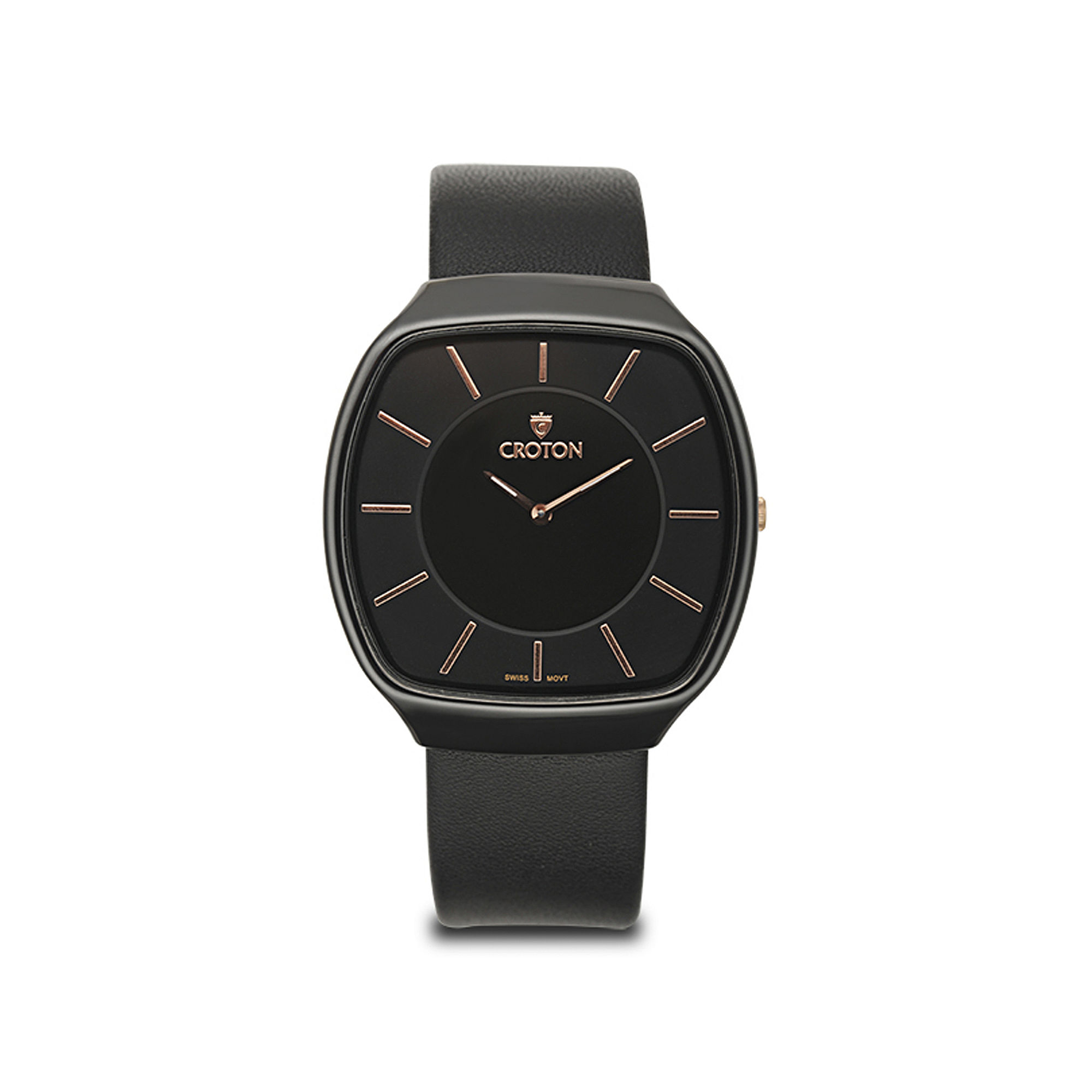 Croton Mens Black Leather Strap Square Watch