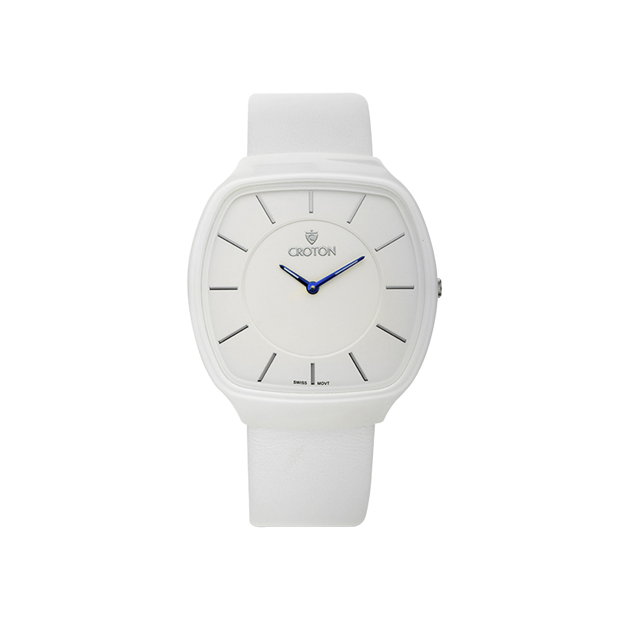 Croton Mens White Leather Strap Square Watch