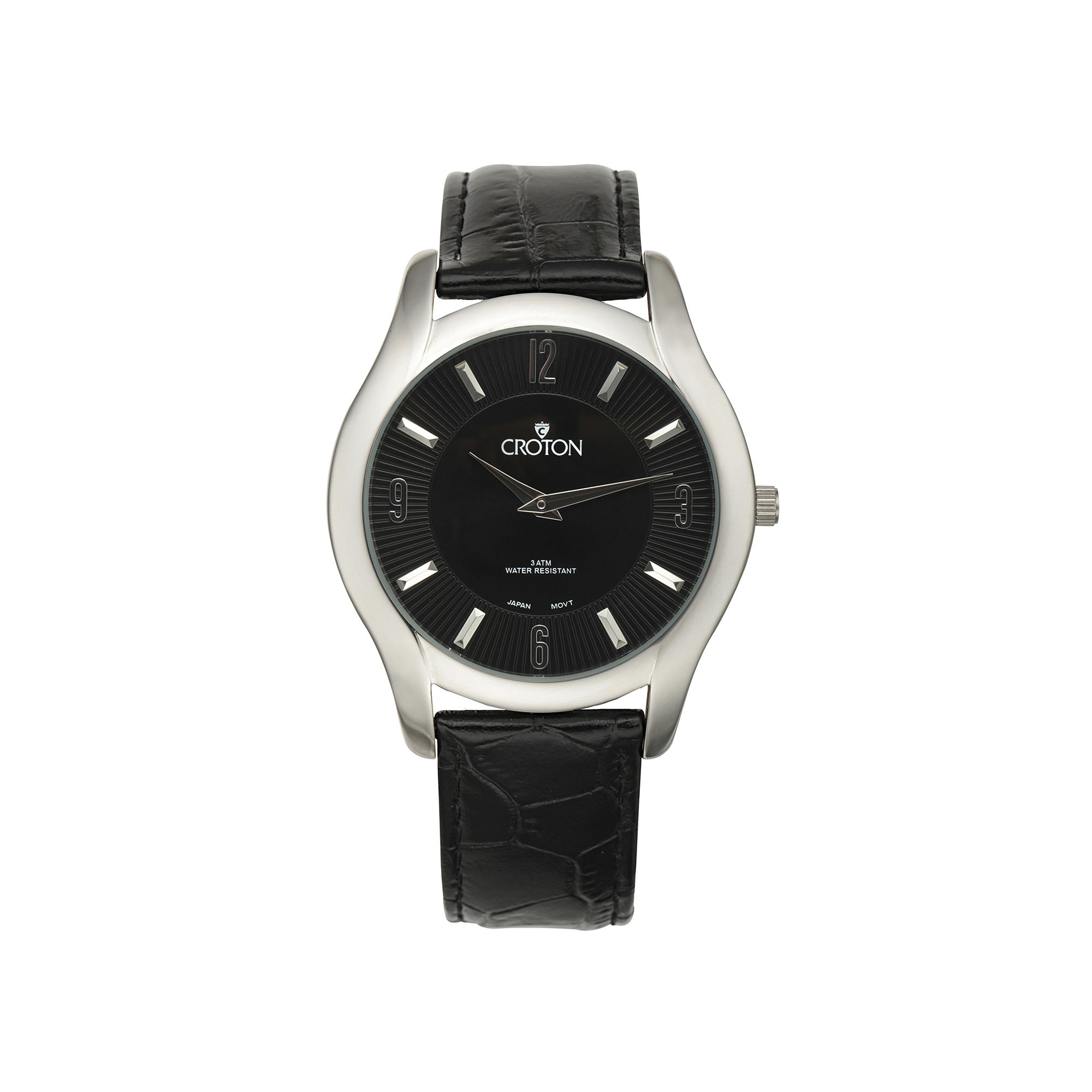 Croton Mens Black Dial Croc-Look Black Leather Strap Watch