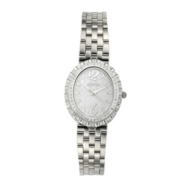 jcpenney.com | Croton Womens Diamond-Accent Stainless Steel Oval Bracelet Watch