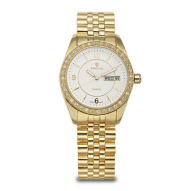 jcpenney.com | Croton Womens Crystal-Accent Gold-Tone Bracelet Watch
