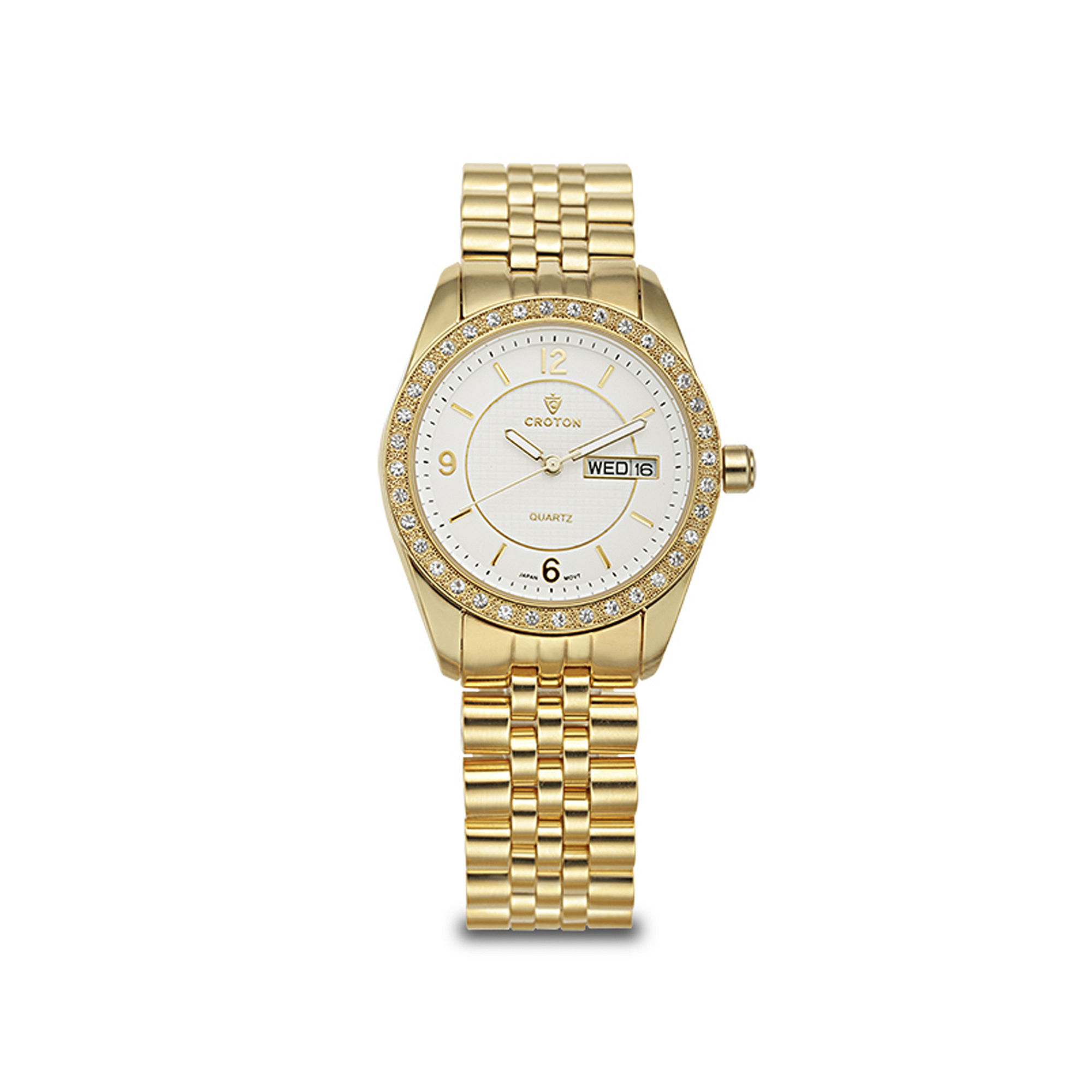 Croton Womens Crystal-Accent Gold-Tone Bracelet Watch