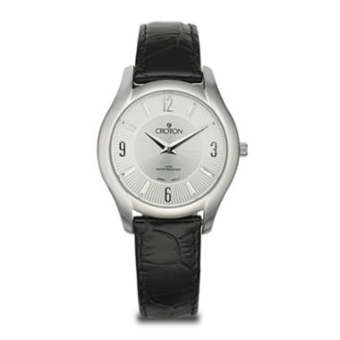jcpenney.com | Croton Womens Black Leather Strap Watch