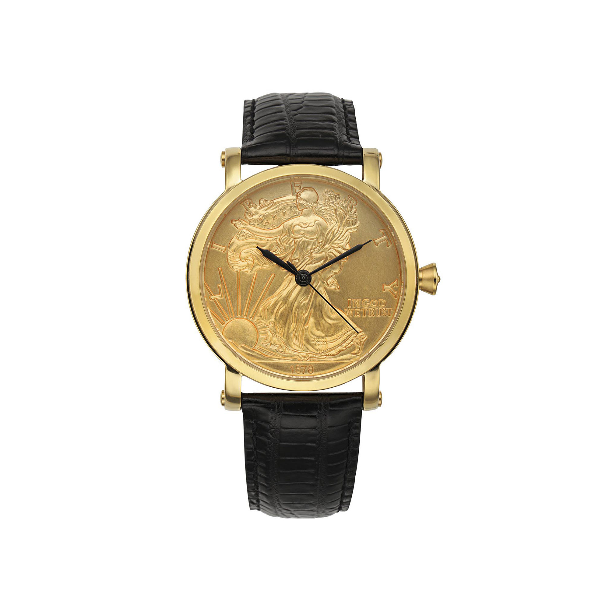 Croton Mens Lizard-Look Black Leather Strap Lady Liberty Half-Dollar Coin Watch
