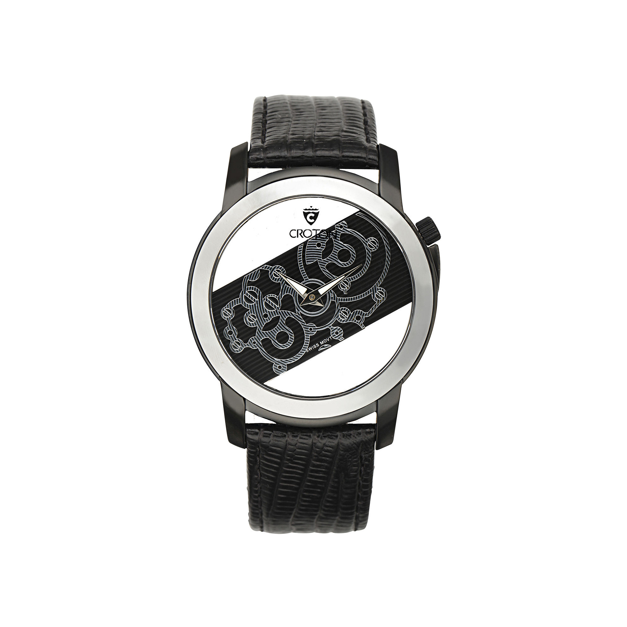 Croton Rhonda Mens Tungsten Bezel Lizard-Look Black Leather Strap Watch
