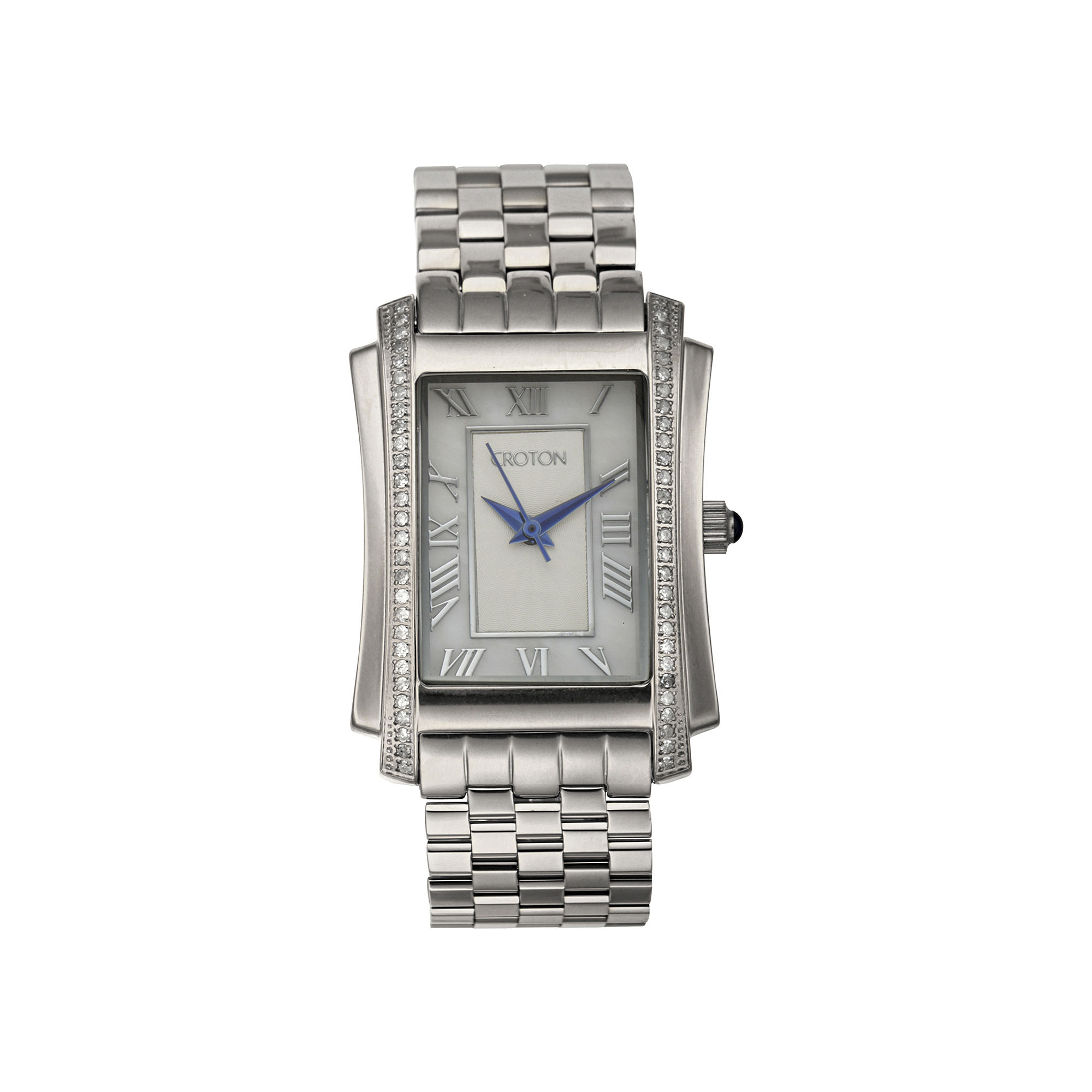Croton Womens Diamond-Accent Stainless Steel Rectangular Bracelet Watch
