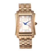 Croton Womens Diamond-Accent Rose-Tone Stainless Steel Rectangular Bracelet Watch