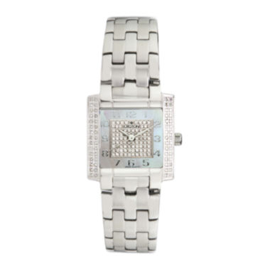 jcpenney.com | Croton Womens Diamond-Accent Stainless Steel Bracelet Square Watch