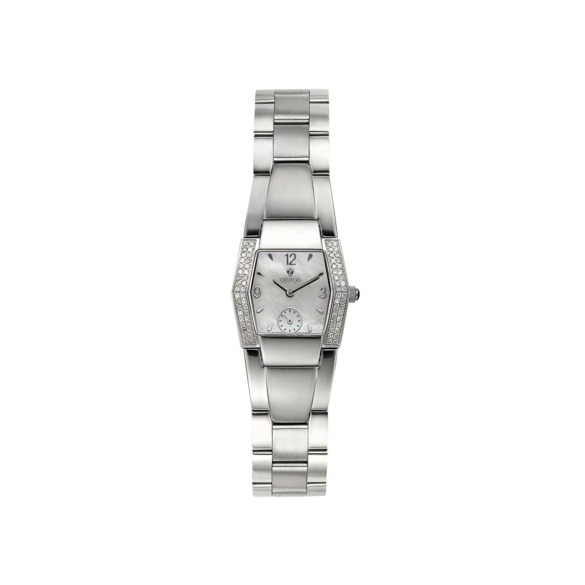 Croton Womens Diamond-Accent Stainless Steel Bracelet Watch