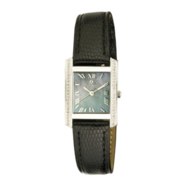 jcpenney.com | Croton Rhonda Womens Diamond-Accent Lizard-Look Black Leather Strap Rectangular Watch