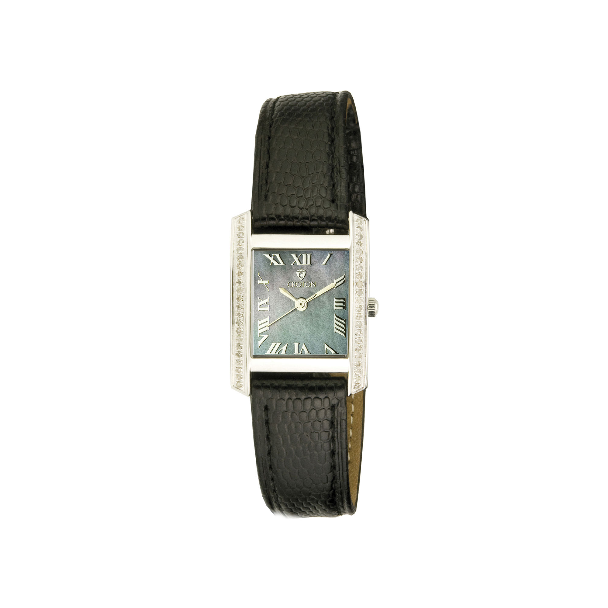 Croton Rhonda Womens Diamond-Accent Lizard-Look Black Leather Strap Rectangular Watch